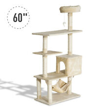 """60"""" Cat Tree Scratching Post Kitty Activity Center Pet House Beige"""
