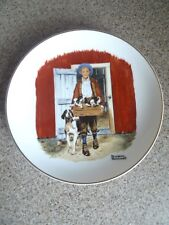 "Puppy Love -- 1985 Inspired by Art of Norman Rockwell -- 6.5"" Plate + Gold Trim"