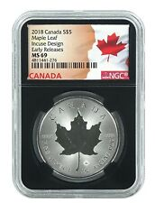 2018 Canada 1oz Silver Incuse Maple Leaf NGC MS69 ER Black Core Flag Label