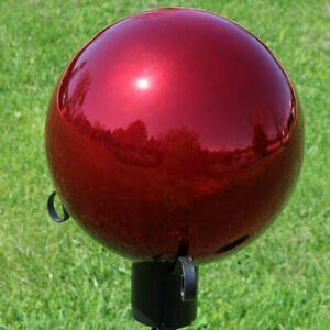 Sunnydaze 10 Inch Glass Gazing Globe Ball with Mirrored Finish Red - Set of 2