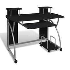 New Mobile Computer Desk Pull Out Tray Black Finish Furniture Office Home Z0D5