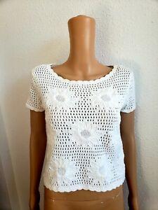Liz Claiborne Women White Chocheted   Cotton Floral Shortsleeve Top