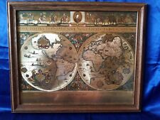 Blaeu Wall Map Gold Foil 1776 FRAMED