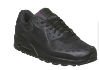 NEW  Air Max 90 Triple Black LEATHER Trainers Shoes UK STOCK- FREE DELIVERY