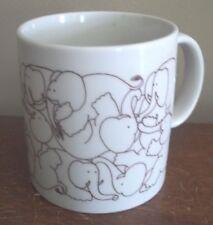 BROWN taylor ng ELEPHANTS wrestling COFFEE tea CUP MUG vtg japan GIFT