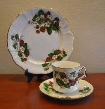 Vintage Hammersley SPODE Strawberry Ripe Trio, Teacup Saucer and Side Plate