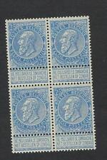 Belgique België 60** mnh** bloc de 4 Fine barbe 25c bleu/blauw 1893 cob € 164-