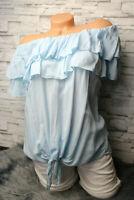 Italy Shirt Tunika Carmen Bluse Gr. 36 38 40 blau Vintage Volant Knoten blogger