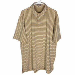 Peter Millar Summer Comfort Polo Golf Shirt Men's Large Yellow Navy Blue Striped