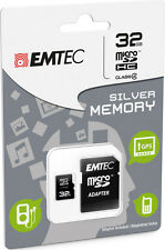 MicroSD HC Memory Card + Adapter 32GB Silver (MP3-MP4) IT IMPORT EMTEC