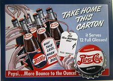 Pepsi:Cola Take Home This Carton Metal Sign