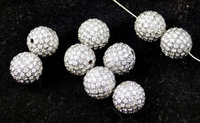 2 Pcs 925 Sterling Silver 6mm Round Hole Size 1-1.5mm Finding CZ Balls Shape