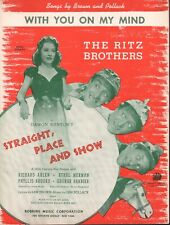 With You On My Mind 1938 Ritz Bros Ethel MermanStraight Place & Show Sheet Music