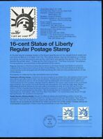USPS 1978 First Day Issue Souvenir Page, 16-cent Statue of Liberty