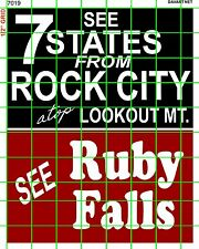 7019 DAVE'S DECALS LARGER SEE ROCK CITY & RUBY FALLS BARN ROOF SIGN ADVERTISING