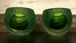 Sommerso Art Glass Votive 2 Candle Holders Emerald Green Round Faceted