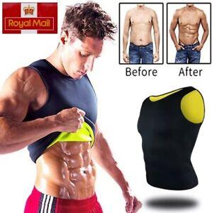 Sweat Sauna Vest Body Shaper Men Slim Neoprene Waist Trainer Fat Burning Top UK