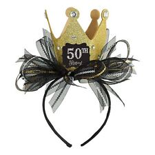 Ladies Girls Birthday Headband Gold Glitter Tiara Crown Add Age Fascinator Bow