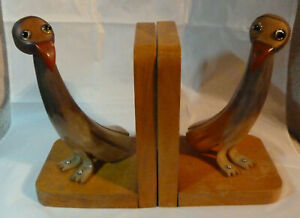 Vintage pair of Quirky Art Deco Nut & Horn bird book ends British Made bookend