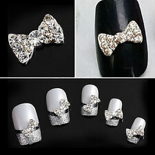 10Pcs Hot 3D Alloy Rhinestone Bow Tie Nail Art Glitters Stickers DIY Decoration