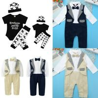Newborn Baby Boys Gentleman Outfits Romper Jumpsuit Birthday Bodysuit Clothes