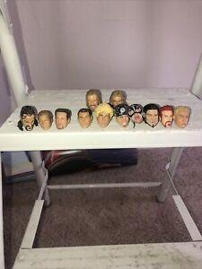 Lot of 12 WWE WWF JAKKS/Mattel Action Figure Heads Custom Fodder Wrestling used