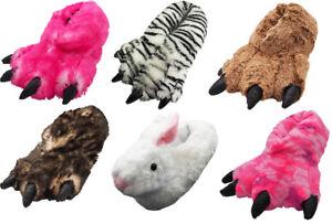 Women Men Boys Girls Soft Plush Fun Winter Animal Claw Paw Feet Indoor Slippers