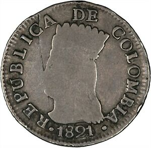 Colombia (Cundinamarca) 1821 2 Reales VF/VF+, SCARCE ISSUE