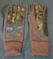 BY AVON Vintage BROWN SWEATER GLOVES Faux Leather Trim NOVAHIDE KNIT One Size