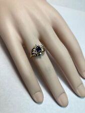 Diamond 0.80 Ct Right Hand Ring 14k Yellow Gold Blue Oval Sapphire
