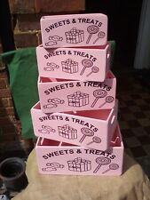 Gorgeous pastel pink painted wooden storage boxes with Sweets and Treats design