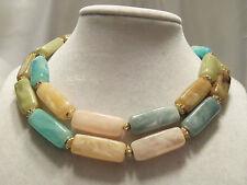 (HONG KONG) Vintage Strand CHUNKY Marbled Shades of NATURE Gold Necklace 14N442