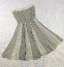 Anthropologie Lauren Moffatt 2 Dress 100% Silk Gray Strapless Swiss Dot