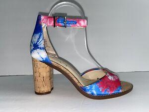Jessica Simpson Size 7.5 Maivel Tie Dye Cork Heel Sandals Blue/Pink/White/Brown