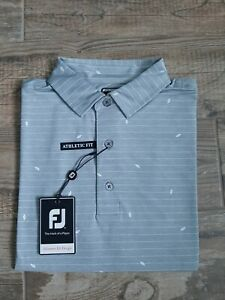 NEW FootJoy Mens Lisle Leaf Print Golf Polo Medium Grey/White 26214