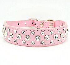 Pink Bling Rhinestone Crystal Diamond Pet Dog Cat Puppy Leather Collar S M L XL