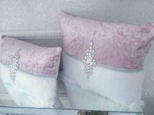 2  Luxury Blush  Pink Crushed Velvet & White Faux Fur  Cushion With Large Jewel