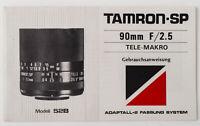 Bedienungsanleitung Tamron SP 90mm 90 mm F/2.5 Tele Makro Anleitung