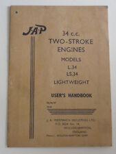 VINTAGE J.A.P. 34CC TWO STROKE MODEL L.34 LS.34 USER HANDBOOK FREE SHIP US+CAN