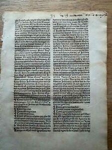 A leaf from Sermones de Laudibus Sanctorum  printed 1495