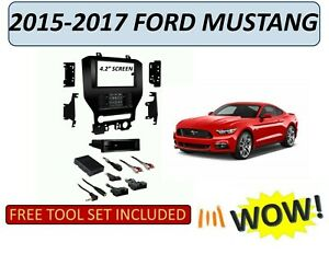"""2015-2017 FORD MUSTANG 4.2"""" scrn DOUBLE DIN STEREO DASH KIT TOUCHSCREEN CLIMATE"""