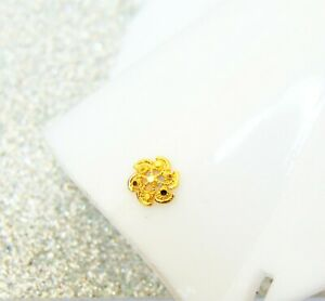 Sale... Indian Ethnic Stud Nose Ring 22k Gold Plated Ear Nose Pin Valentine Gift