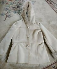 Dorothy Perkins Size 10 Winter Coat Faux Suede / Faux Fur In Great Condition