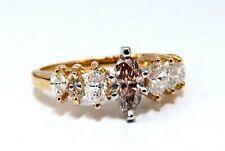 GIA Certified .56ct. Fancy Pink brown marquise cut diamond ring 14 Karat