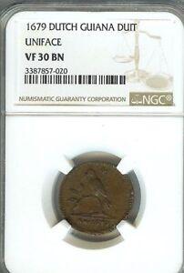 Very RARE DUTCH GUIANA 1679 4 DUIT 1/2 Stuiver-NGC VF30 KM8-catalog price $1200