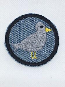Silbermöwe Button Patch Aufbügler Dekoration Verschönerung Applikation 5,5 cm