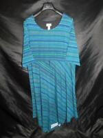 Catherines 2X Teal Blue Black Stripe Dress Short Sleeve Lined Midi Stretch Knit