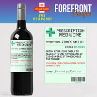 Personalised Prescription Red wine bottle label, Perfect Birthday/Wedding/ Gift