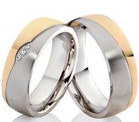 2 Trauringe Eheringe Hochzeitsringe Verlobungsringe mit 3 Zirkonia Gravur P300