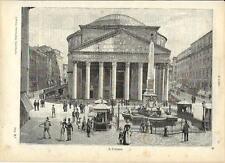 Stampa antica ROMA veduta del PANTHEON 1891 Old antique print Rome